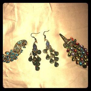 Peacock 🦚 earrings and hair clips